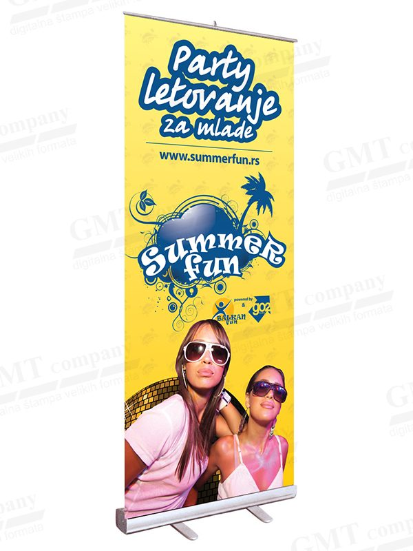 reklamni display sistemi roll up tekstilni zuti summer fun