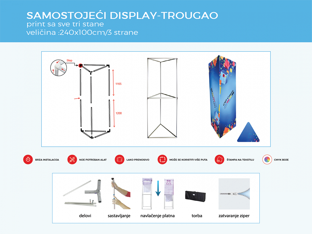 reklamni samostojeci tube display trougao gmt