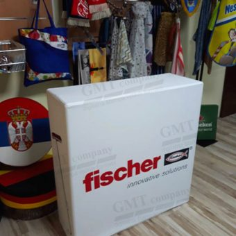 Reklamni display sistem pop up counter-pult Fischer logo