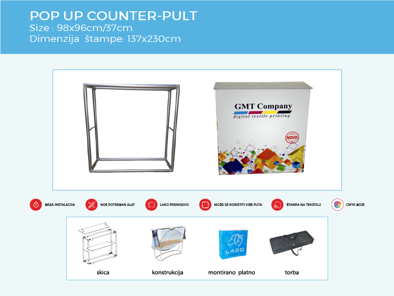 Reklamni display sistem Pop up counter-pult specifikacija