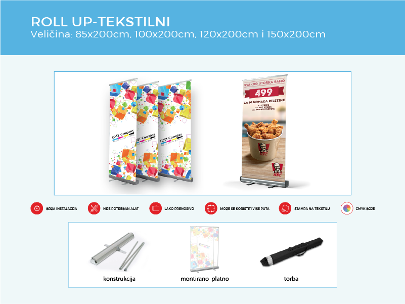 reklamni display sistemi roll up tekstilni gmt