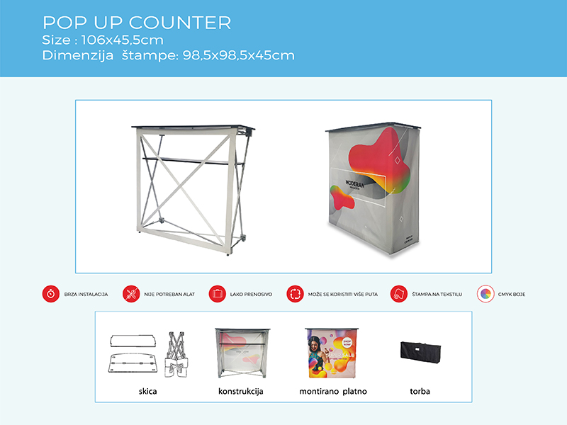 pop up counter reklamni pult m2 2 gmt | pop up counter promo pult m2 2 gmt